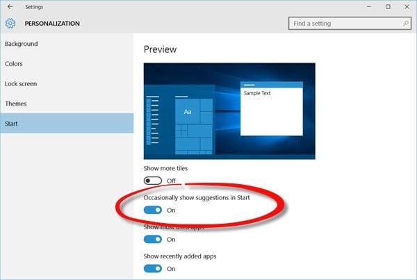 Desactivar los anuncios del menú Inicio sugerido en Windows 10