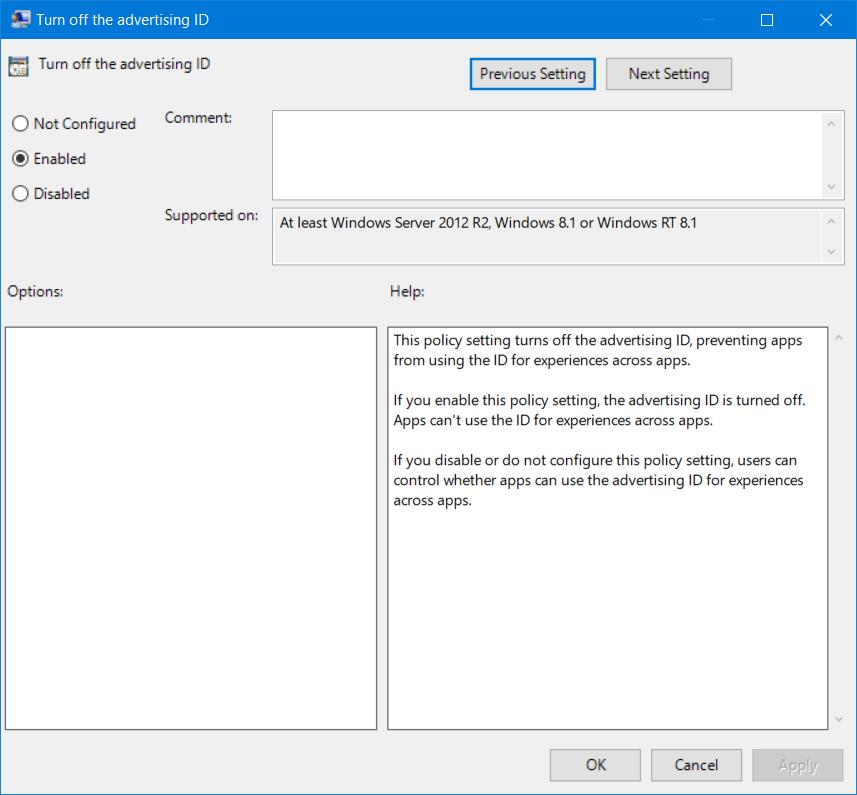 Desactivar ID de publicidad para deshabilitar los anuncios dirigidos en Windows 10