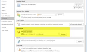 Desactivar los recordatorios del Calendario de Outlook y las notificaciones emergentes