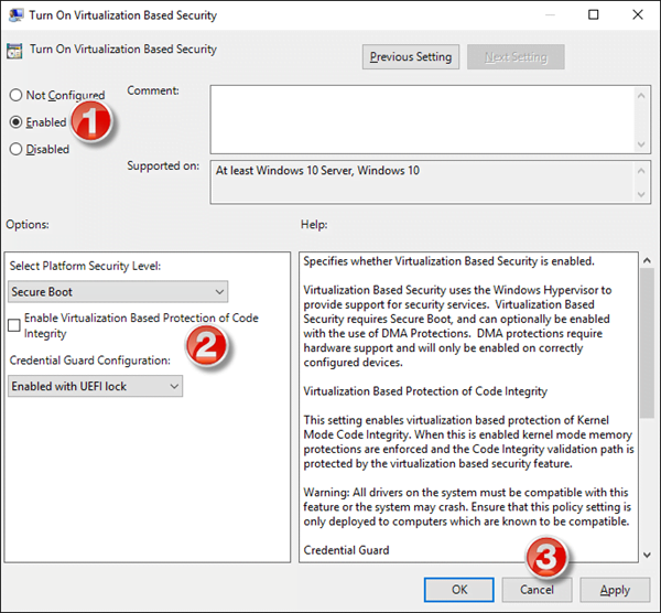 Habilitar Credential Guard en Windows 10 mediante la directiva de grupo