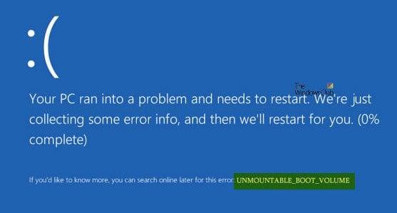 Corregir error de pantalla azul de Windows 10 UNMOUNTABLE_BOOT_VOLUME 1