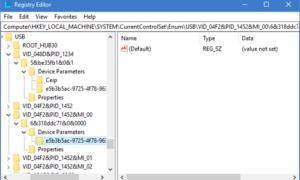 La función Fijar USB Selective Suspend está deshabilitada en Windows.