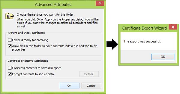 La opción Cifrar contenido para proteger los datos está desactivada en Windows 10/8.