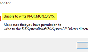 No se puede escribir PROCMON23.SYS? Aquí está el arreglo!