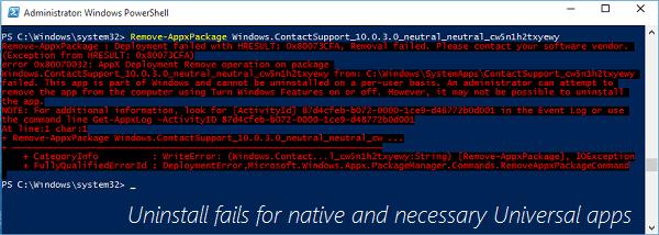 Desinstalación de aplicaciones universales de su cuenta de usuario en Windows 10 mediante PowerShell