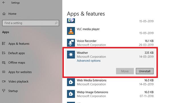 Cómo desinstalar Weather App en Windows 10