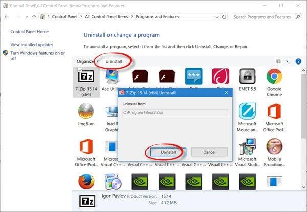 Cómo desinstalar un programa en Windows 10/8/7