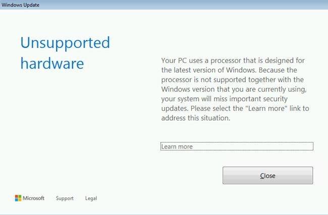 El procesador no es compatible con la versión de Windows que está utilizando actualmente.
