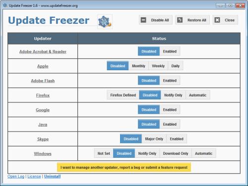 Detener esa actualización - Usar Update Freezer