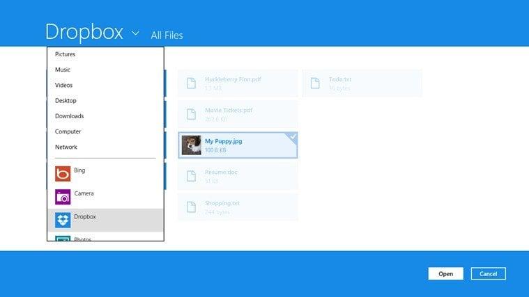 La aplicación Dropbox para Windows 8 llega con una interfaz de Metro pero sin algunas características esenciales