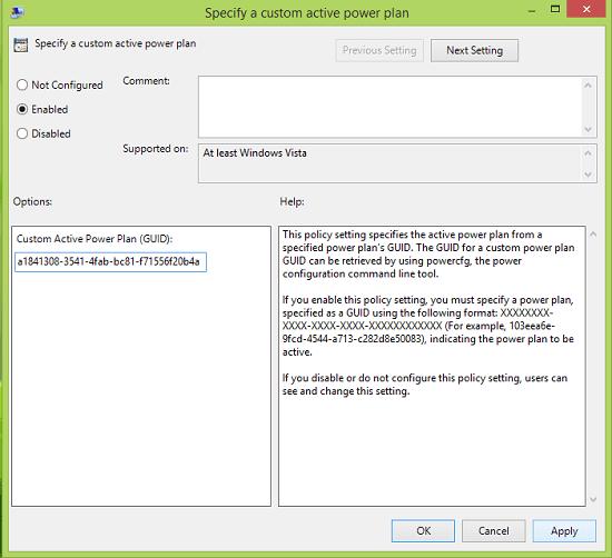 Especificar un plan de energía activa personalizado y forzar a Windows a usarlo 5