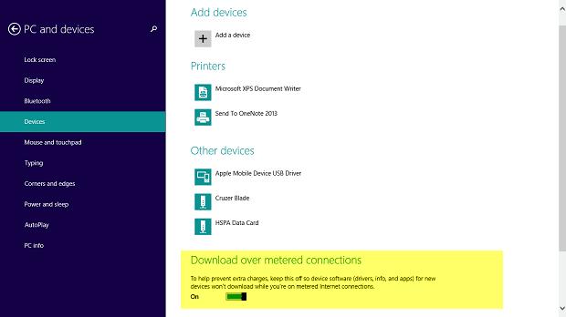 Uso de conexiones medidas para dispositivos en Windows 8.1 2