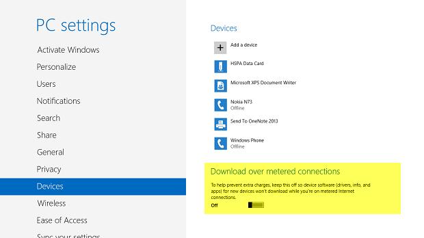 Uso de conexiones medidas para dispositivos en Windows 8.1 1