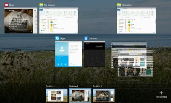 Vista de tareas o Escritorio virtual en Windows 10: Nueva característica