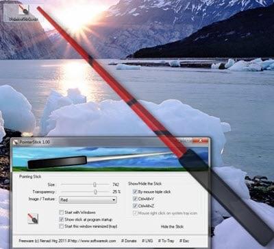 PointerStick es una práctica herramienta de Virtual Pointer Device para presentaciones en pantalla grande