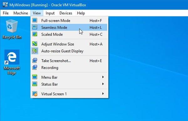 El modo sin fisuras de VirtualBox está en gris o no funciona.