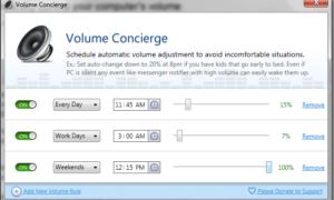 Concierge de volumen: Programar y controlar automáticamente el volumen del equipo