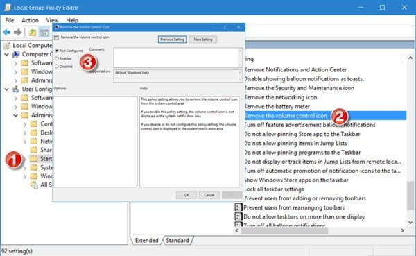 Falta el icono de volumen en la barra de tareas de Windows 10