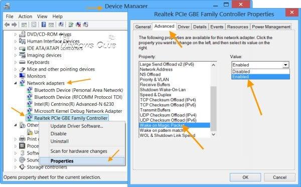 Cómo habilitar Wake-on-LAN en Windows 10