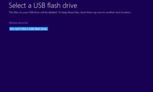 No podemos encontrar una unidad flash USB - Error de configuración de Windows 10