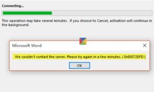No pudimos contactar con el servidor. Error 0x80072EFD al activar Office