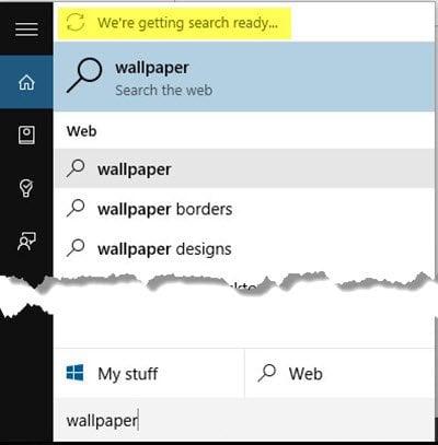 Estamos preparando la búsqueda error en Windows 10
