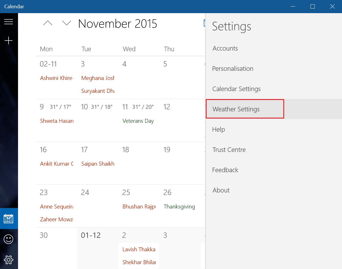 Cambiar la temperatura del calendario de Outlook de Fahrenheit a Celsius 3