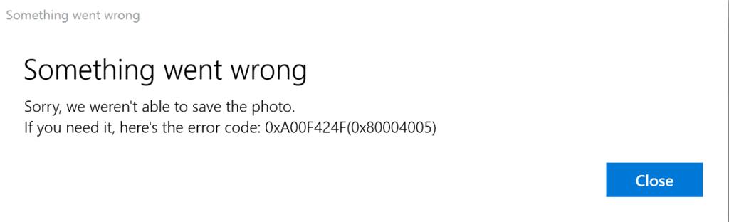 Corrección de un error en la aplicación de Windows 10 Camera 0xA00F424F (0x80004005) 1