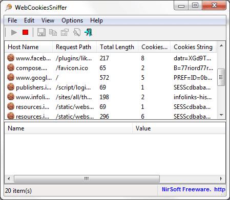 Capturar y guardar todas las cookies guardadas en su ordenador usando WebCookiesSniffer