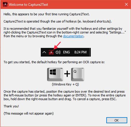 Capture2Text le permite OCR una parte de la pantalla y copiar Texto de la imagen 1