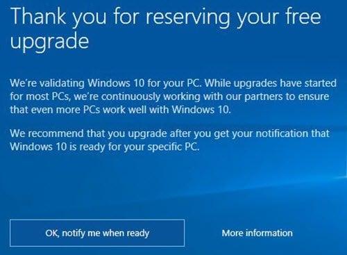 ¿Cuándo obtendré Windows 10? Estamos validando Windows 10 para tu PC...