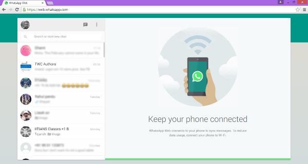 El escritorio de WhatsApp Web para Windows se ejecuta en el navegador Chrome 2