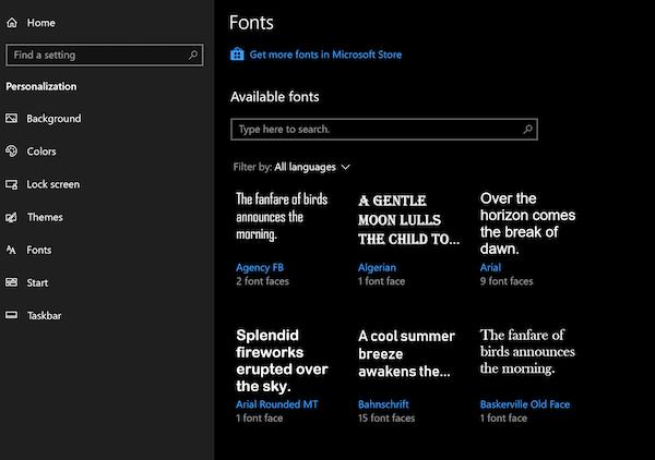 Configuración de fuentes de Windows 10: Cómo descargar fuentes del Microsoft Store 1