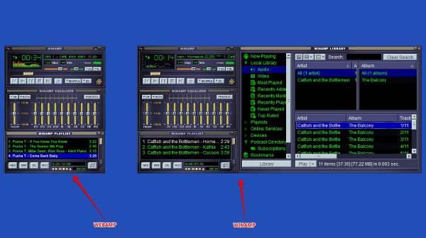 ¿Cómo se compara el reproductor de música en línea Webamp con el popular Winamp?