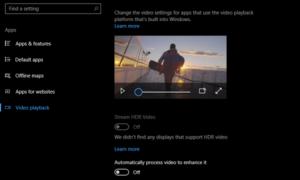 Requisitos de visualización para el vídeo HDR en Windows 10