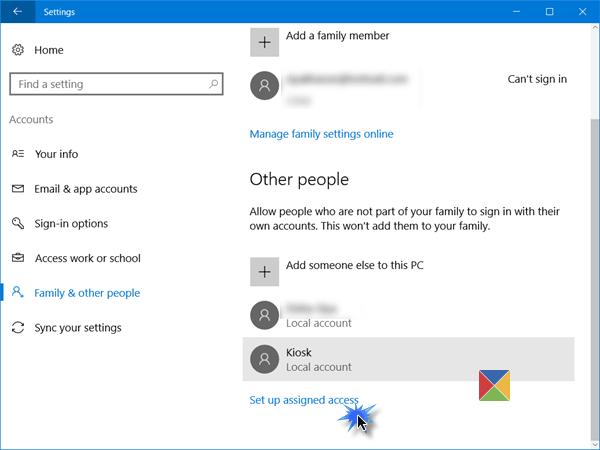 Configuración de Windows 10 en modo quiosco con acceso asignado 1
