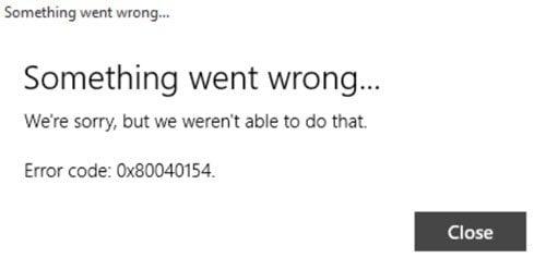 Error 0x80040154 en la aplicación Mail & Calendar en Windows 10