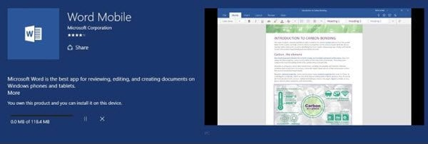 La aplicación Windows 10 Mobile Word aún carece de varias características clave