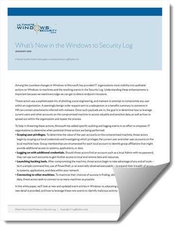 Novedades del registro de seguridad de Windows 10: Descargue el Whitepaper gratuito