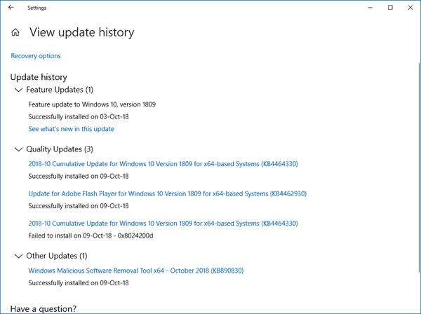 ¿Puede confiar en Ver historial de actualizaciones en la configuración de Windows 10?