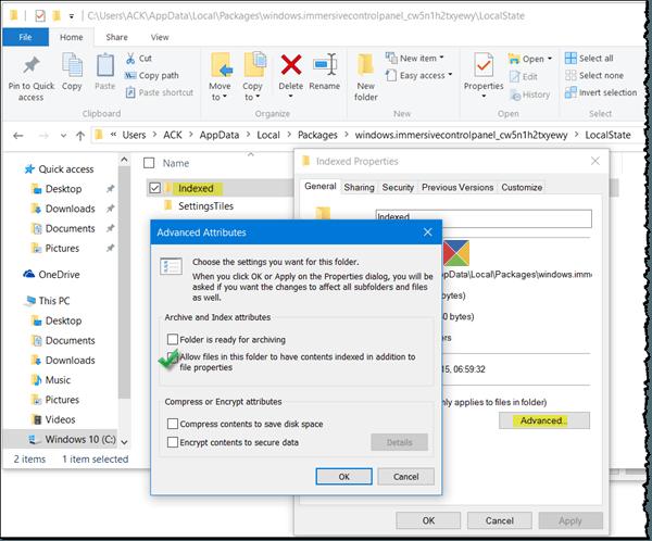 Windows 10 Configuración La búsqueda no funciona