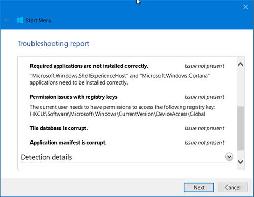 El Solucionador de problemas del menú Inicio de Windows 10 solucionará los problemas automáticamente.