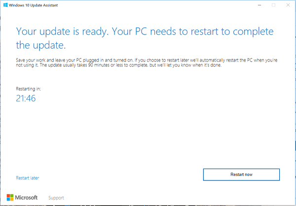 Actualización a Windows 10 Mayo 2019 Update v1903 con el Asistente de Windows 10 Update