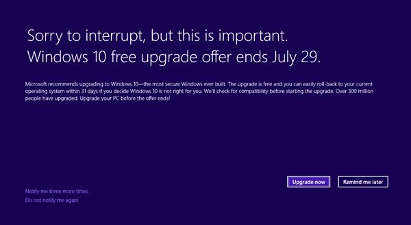 Microsoft comienza a recordar a los usuarios....Perdón por interrumpir, pero esto es importante