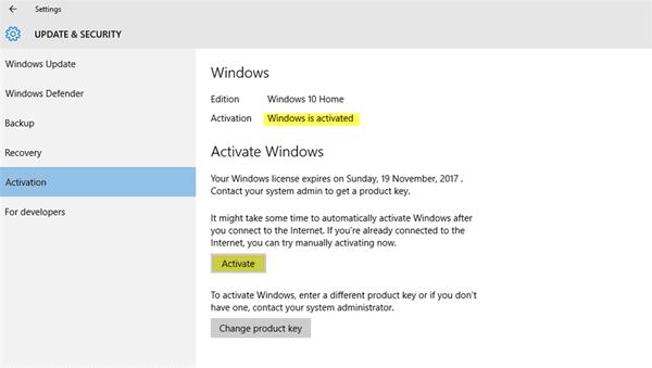 Windows 10 está activado pero sigue pidiendo la activación 1