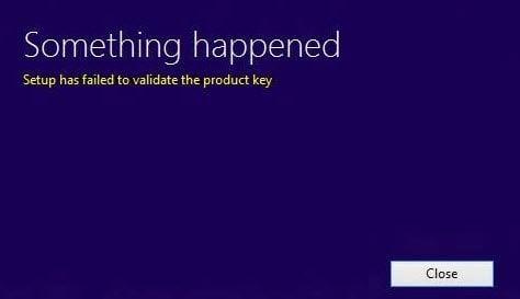El programa de instalación de Windows 10 no ha podido validar la clave de producto.