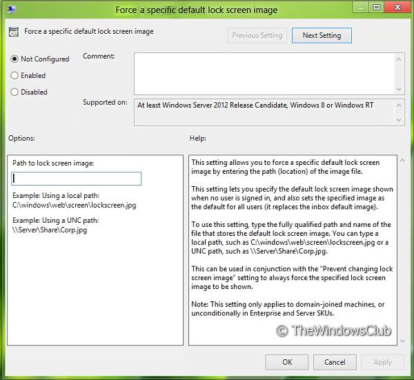 Evitar que los usuarios cambien la pantalla de bloqueo o la pantalla de inicio en Windows 10/8