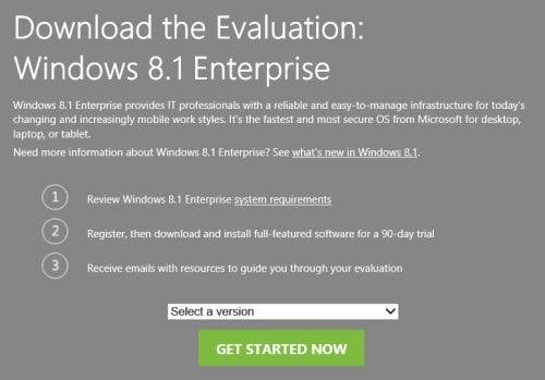 Descargar la versión de evaluación de Windows 8.1 Enterprise