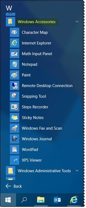¿Dónde está la carpeta Accesorios en Windows 10? 2