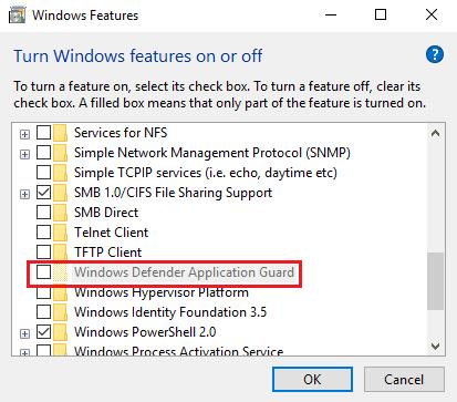 Cómo habilitar Application Guard para Microsoft Edge en Windows 10